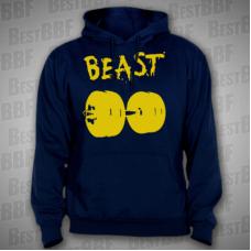 BEAST - pánská mikina tmavě modrá s kapucí, žlutý potisk - velikost S