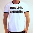 Arnold is Numero Uno - pánské dvoubarevné triko bílo/černé s černým potiskem - velikost M