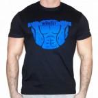 Workout - Pánské triko černé s modrým potiskem - velikost XL