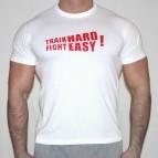 Train Hard - Fight Easy  - triko bílé s červeným potiskem - velikost L