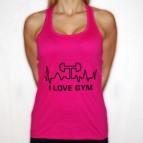 I Love Gym 2 - dámské tílko růžové s černým potiskem vpředu - velikost L