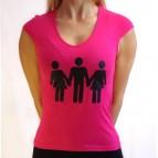 Švédská trojka - Dámské triko s minirukávy růžové s černým potiskem - velikost S