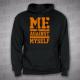 Me against myself - pánská mikina černá s kapucí s oranžovým potiskem -velikost XL