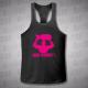 Jedu Bomby! - stringer (fitness tílko) černý s neon růžový potiskem - velikost XL