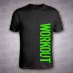 Workout - vertikální - pánské triko černé s neon zeleným potiskem - velikost 3XL