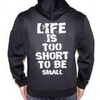 Life Is Too Short - To Be Small (na zádech) - Mikina s kapucí černá s bílým potiskem - velikost XL