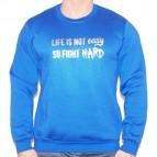 Life is not Easy-So Fight Hard - Mikina clasic královsky modrá se zlatým potiskem - velikost L