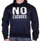 No excuses - mikina s kapucí námořnicky modrá s bílým potiskem - velikost L