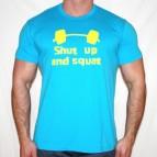 Shut Up an Squat - pánské triko tyrkysové s citr. žlutým potiskem - velikost XL