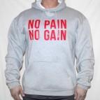 No Pain No Gain nad sebou - Mikina s kapucí šedá s červeným potiskem - velikost XXL