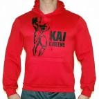 Kai Greene - Mikina s kapucí červená s černým potiskem - velikost XXL