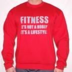 Fitness is not a Hobby - Mikina clasic červená s šedým potiskem - velikost XL