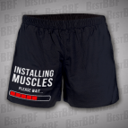 Installing Muscles - please wait - pánské kraťasy černé s bílým potiskem - velikost XL