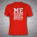 Me against myself - pánské triko červené se stříbrným potiskem - velikost XL