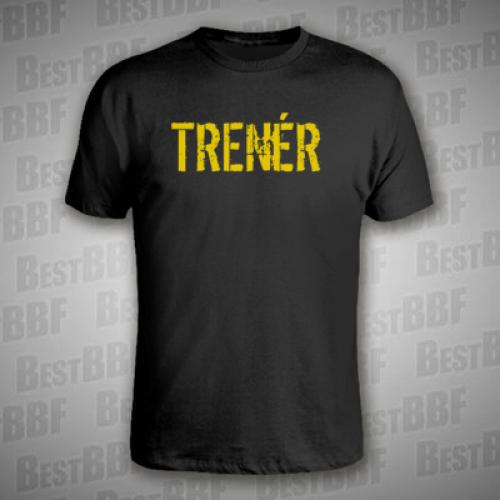 24e82fad232 TRENÉR - Černé pánské triko se žlutým potiskem - velikost M ...