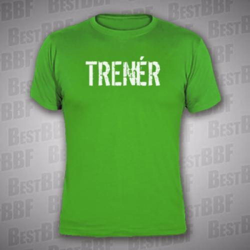 b374fba8559 TRENÉR - Pánské triko zelené s bílým potiskem vpředu i vzadu - velikost XL