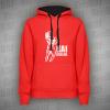 Kai Greene - Mikina pánská s kapucí dvoubarevná červeno-černá (černá kapuce s tkaničkami) s bílým potiskem - velikost XL