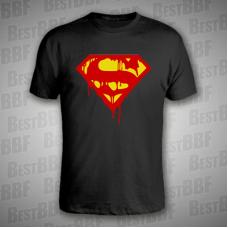 Superman rozteklý - pánské triko černé  - velikost XL