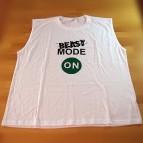Beast Mode ON - pánské triko bez rukávu bílé s černým potiskem - XL