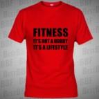 Fitnes It's not hobby - triko červené s černým potiskem - velikost XL