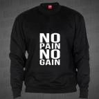 No Pain No Gain-big NO- mikina clasica černá s bílým potiskem - velikost XL