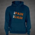 No Pain - No Gain ( dvoubarevný) - pánská mikina s kapucí námořnicky modrá s oranžovým potiskem - velikost M