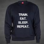 Train Eat Sleep Repeat -mikina clasica nám.modrá s bílým potiskem - velikost XL