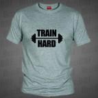 Train Hard - triko šedé s černým potiskem - velikost XL