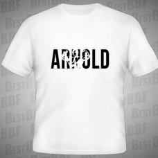 Arnold+Silueta - triko bílé s černým potiskem - velikost S
