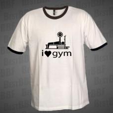 I Love Gym - dvoubarevné triko bílé s černým potiskem - velikost M
