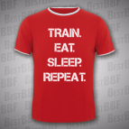 Train Eat Sleep Repeat -  Pánské triko dvoubarevné červeno-bílé s bílým potiskem - velikost M