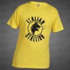 Italský Hřebec - Pánské triko žluté s černým potiskem - velikost M