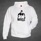Muscle - bílá mikina s kapucí - černý potisk - velikost L