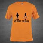 Your Girlfriend My Girlfriend - pánské triko oranžové s černým potiskem - velikost XL